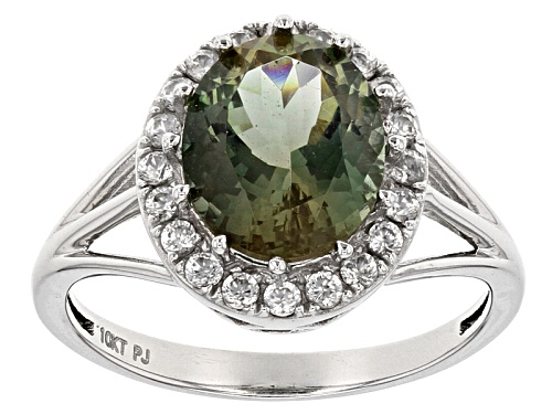 Photo of 2.50ct Oval Green Oregon Sunstone With .30ctw Round White Zircon 10k White Gold Ring - Size 10