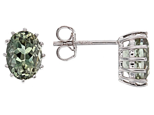 Photo of 1.14ctw Oval Green Oregon Sunstone 10k White Gold Stud Earrings