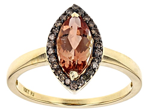 Photo of 1.05ct Marquise Orange Oregon Sunstone With .09ctw Champagne Diamond Accent 10k Yellow Gold Ring - Size 7