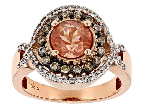 Photo of 1.25ct Orange Oregon sunstone, .44ctw white zircon & .27ctw champagne diamond 10K rose gold ring - Size 8