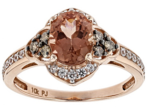 Photo of .90ct Orange Oregon sunstone, .31ctw white zircon and .15ctw Champagne diamonds 10K rose gold ring - Size 7