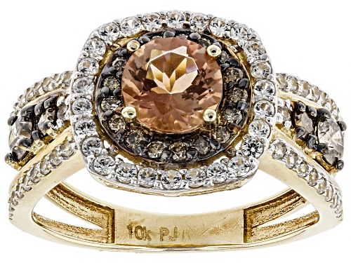 Photo of .64CT ORANGE OREGON SUNSTONE, .47CTW WHITE ZIRCON AND .43CTW CHAMPAGNE DIAMONDS 10K YELLOW GOLD RING - Size 7