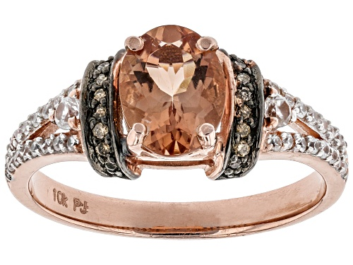 Photo of .90ct Oregon sunstone, .26ctw white zircon and .08ctw Champagne diamond accent 10K rose gold ring - Size 7
