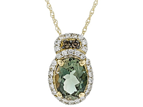 .90ct Green Sunstone, .15ctw Zircon & .04ctw Champagne Diamond Accent 10K Yellow Gold Slide w/chain
