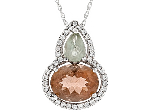 Photo of 1.75ct Orange and .45ct green Oregon sunstone with .19ctw white zircon 10K white gold slide w/chain