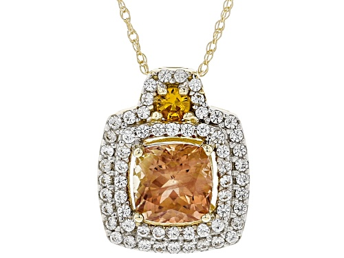 Photo of .85ct Orange Oregon sunstone, .09ct orange sapphire & .29ctw white zircon 10K gold slide with chain
