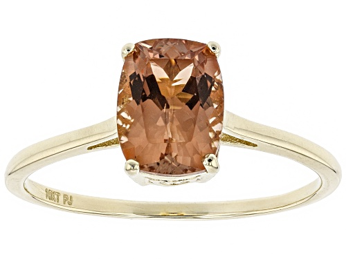 Photo of 1.25ct rectangular cushion Oregon Sunstone solitaire, 10K yellow gold ring - Size 6