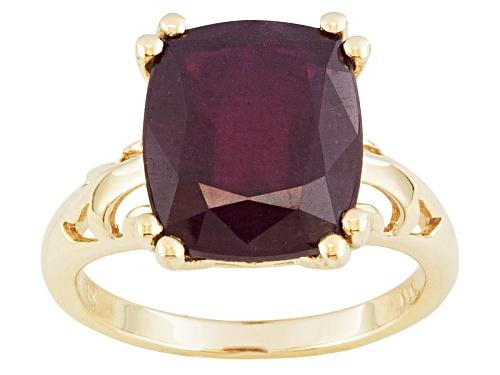 Photo of 8.00ct Rectangular Cushion Mahaleo® Ruby 10k Yellow Gold Solitaire Ring - Size 7