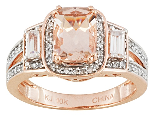 Photo of 1.05ct Cushion Cor-De-Rosa Morganite™,.36ctw White Zircon,.20ctw White Diamond 10k Rose Gold Ring - Size 9