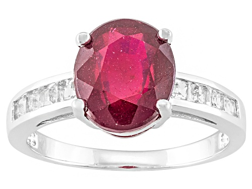 Photo of 2.98ct Oval Mahaleo® Ruby With .41ctw Square White Topaz Sterling Silver Ring - Size 12