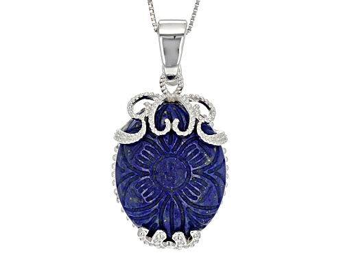 Photo of Pre-Owned 25x20mm Oval Carved Floral Lapis Lazuli Sterling Silver Enhancer With Chain