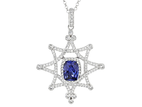 Photo of Pre-Owned Tycoon For Bella Luce® Lab Created Sapphire/White Diamond Simulant Platineve®Pendant W/Cha