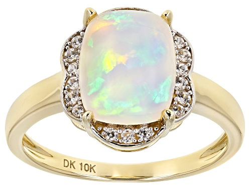 Photo of Pre-Owned 1.85ct Cushion Cabochon Ethiopian Opal With .15ctw Round White Zircon 10k Yellow Gold Ring - Size 10