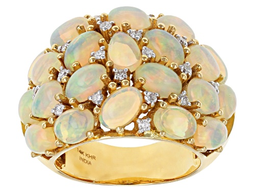 Photo of Pre-Owned 5.32ctw Mix Shape Ethiopian Opal with 0.01ctw Round Diamond Accent 14K Yellow Gold Ring - Size 7