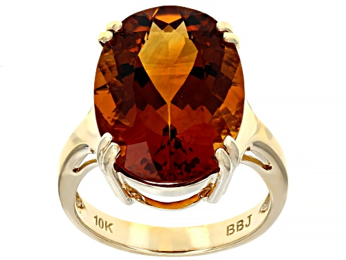 Photo of Pre-Owned 9.56ct Oval Orange Madeira Citrine Solitaire 10k Yellow Gold Ring - Size 7