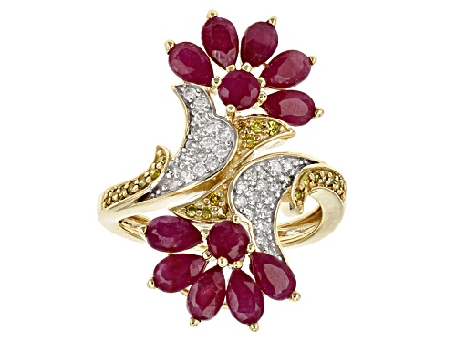 Photo of Park Avenue Collection® Red Mozambique Ruby & .35ctw Yellow & White Diamond 14k Yellow Gold Ring - Size 7