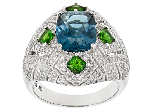 Photo of Park Avenue Collection®  3.24ct London Blue Topaz & 1.42ctw Multi-Gemstone 14k White Gold Ring - Size 5
