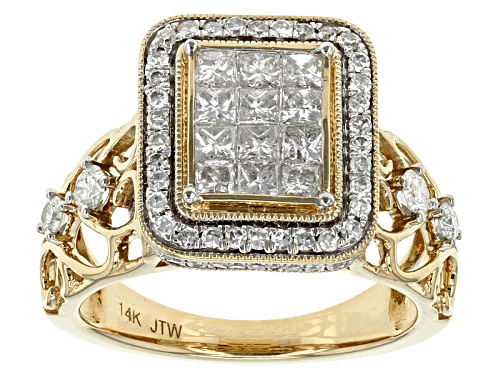 Photo of Park Avenue Collection® 1.25ctw Princess Cut And Round White Diamond 14k Yellow Gold Quad Ring - Size 10