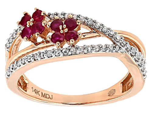 Photo of Park Avenue Collection® .40ctw Round Red Ruby And .20ctw Round White Diamond 14k Rose Gold Ring - Size 7