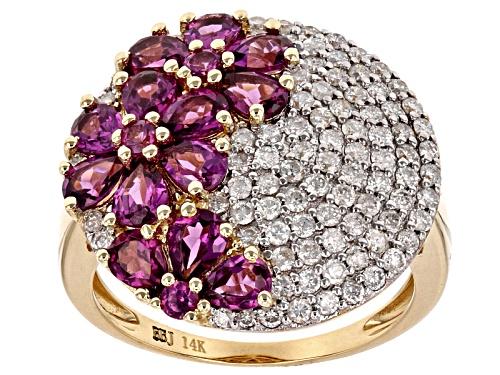 Photo of Park Avenue Collection® 2.99ctw Grape Color Garnet And .83ctw White Diamond 14k Yellow Gold Ring - Size 10