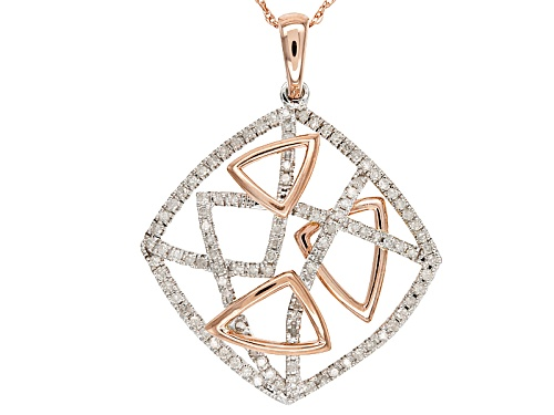 "Photo of Park Avenue Collection® .39ctw Round White Diamond 14k Rose & White Gold Pendant With 18"" Rope Chain"