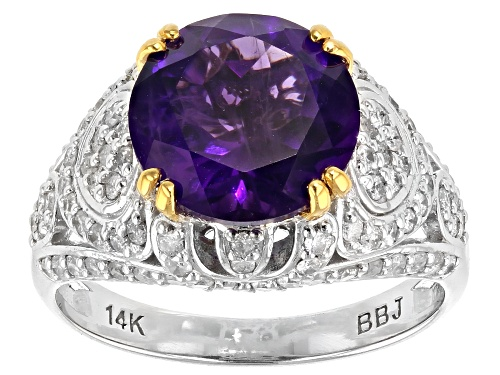 Photo of Park Avenue Collection® 2.99ct Purple African Amethyst And .68ctw White Diamond 14k White Gold Ring - Size 7