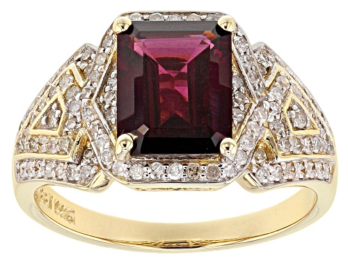 Park Avenue Collection® 2.60ct Grape Color Garnet And .48ctw White Diamond 14K Yellow Gold Ring - Size 5