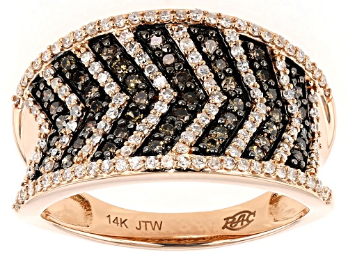 Photo of Park Avenue Collection® .75ctw Round Champagne and White Diamond 14k Rose Gold Chevron Ring - Size 9