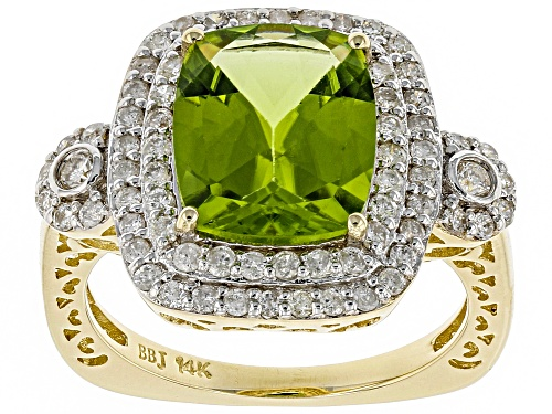 Photo of Park Avenue Collection® 3.86ct Green Peridot And .69ctw White Diamond 14K Yellow Gold Halo Ring - Size 7
