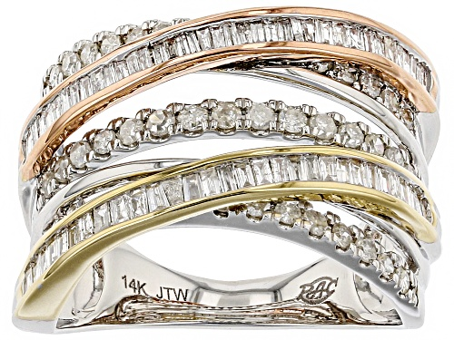 Photo of Park Avenue Collection® 1.00ctw Round And Baguette White Diamond 14K Three-Tone Gold Ring - Size 5