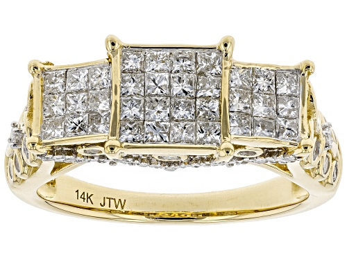 Photo of Park Avenue Collection® 1.25ctw Princess Cut And Round White Diamond 14K Yellow Gold Ring - Size 9