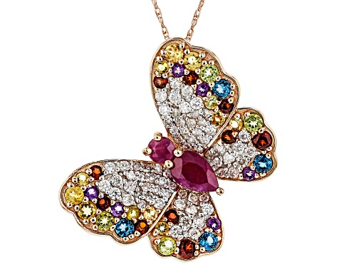 Photo of Park Avenue Collection® Mozambique Ruby & Multi-Gemstone 14k Rose Gold Butterfly Pendant 2.07ctw