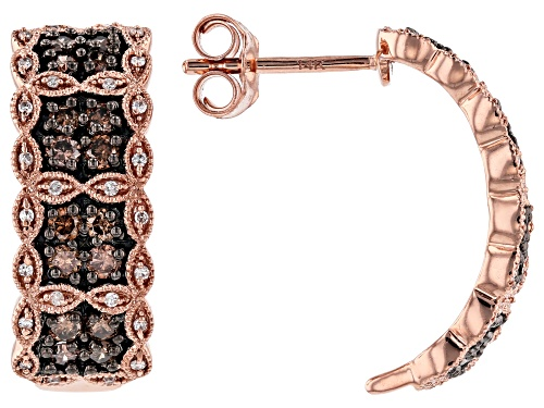 Photo of Park Avenue Collection® 0.75ctw Round Champagne And White Diamond 14k Rose Gold Earrings
