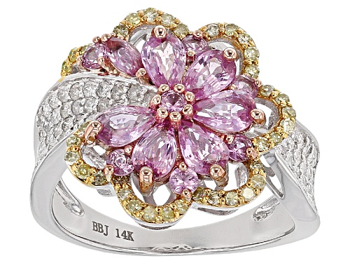Photo of Park Avenue Collection® 1.83ctw Pink Sapphire & .63ctw Yellow & White Diamond 14k White Gold Ring - Size 6