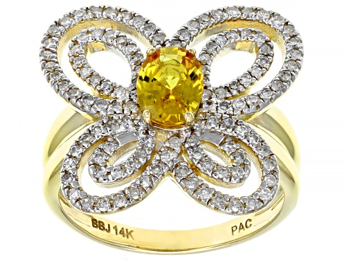 Photo of Park Avenue Collection® 0.80ct Yellow Sapphire And .49ctw White Diamond 14K Yellow Gold Ring - Size 8