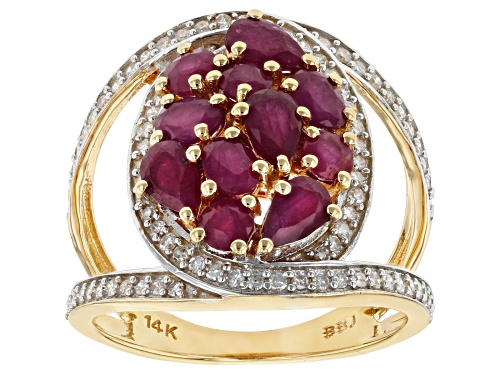 Photo of Park Avenue Collection® 2.30ctw Red Burmese Ruby And 0.35ctw White Diamond 14K Yellow Gold Ring - Size 6