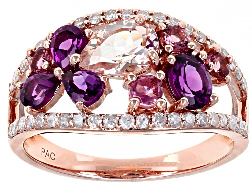 Photo of Park Avenue Collection® 1.05ctw Grape Color Garnet & 1.29ctw Multi-Gemstone 14K Rose Gold Ring - Size 6
