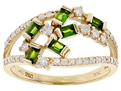 Photo of Park Avenue Collection® 0.42ctw Chrome Diopside & 0.40ctw White Diamond 14K Yellow Gold Ring - Size 7