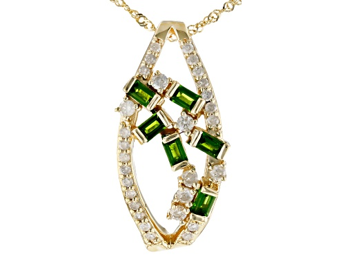Photo of Park Avenue Collection® .43ctw Chrome Diopside & .34ctw Diamond 14K Yellow Gold Pendant With Chain