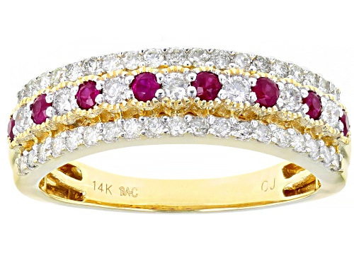 Photo of Park Avenue Collection® 0.18ctw Red Burmese Ruby & 0.51ctw White Diamond 14K Yellow Gold Ring - Size 6