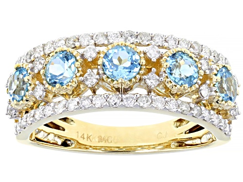 Photo of Park Avenue Collection® 1.05ctw Swiss Blue Topaz & 0.51ctw White Diamond 14K Yellow Gold Ring - Size 8