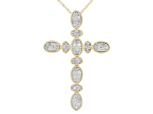 Photo of Park Avenue Collection® 0.25ctw Round White Diamond 14K Yellow Gold Cross Pendant With 18 Inch Chain