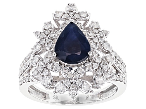 Photo of Park Avenue Collection® 1.40ct Blue Sapphire & 0.75ctw White Diamond 14K White Gold Cocktail Ring - Size 7