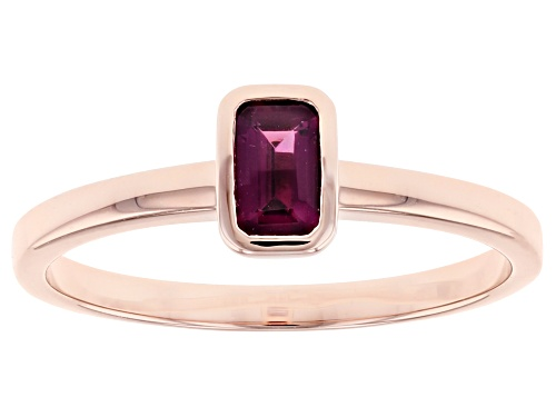 Photo of Park Avenue Collection® 0.34ct Emerald Cut Grape Color Garnet 14k Rose Gold Solitaire Ring - Size 7