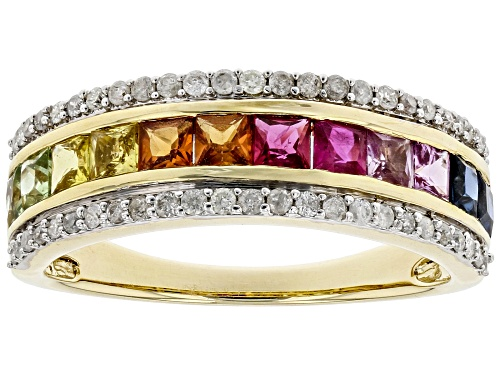 Photo of Park Avenue Collection® 1.10ctw Multi-Color Sapphire & Ruby With .24ctw Diamond 14k Yellow Gold Ring - Size 7