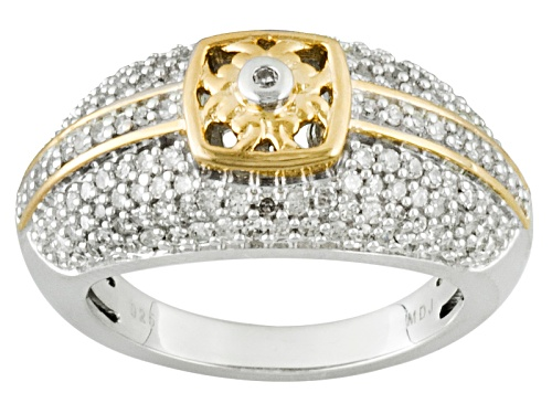 Park Avenue™ .65ctw Round White Diamond Rhodium And 18k Over Sterling Silver Ring - Size 6