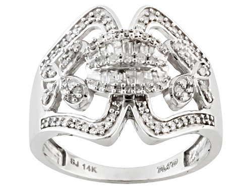 Photo of Park Avenue™ .45ctw Round And Baguette White Diamond 14k White Gold Cluster Ring - Size 7