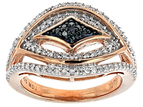 Park Ave® .40ctw Round Blue Velvet Diamond™ And White Diamond 18k Rose Gold Over Silver Ring - Size 7