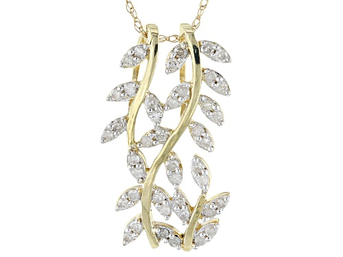Photo of Park Avenue Collection ™ .33ctw Round White Diamond 14k Yellow Gold Pendant With An 18inch Chain