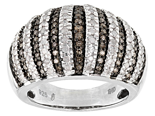 Photo of Park Avenue™ 1.03ctw Round Champagne And White Diamond Rhodium Over Silver Dome Ring - Size 5